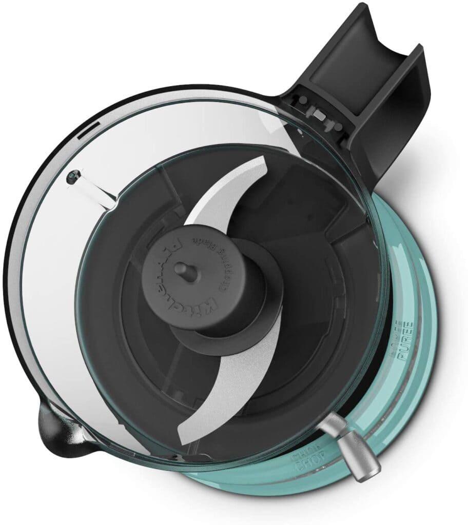 kitchenaid mini food processor in aqua, interior shot
