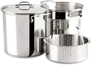 all clad 12 qt stock pot with steamer basket inserts